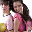 Boy whit fruit and girl in pink dress — Stock Photo #2167248