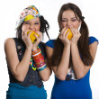 Two girls with sweet pepper — Stock Photo
