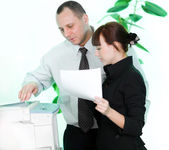 Men and girl with paper — Stock Photo