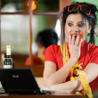 Стоковое фото: Girl in red t-shirt with notebook