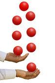 Man juggling priorities — Stock Photo