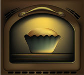 Baking Cakes In Oven — Stock Vector