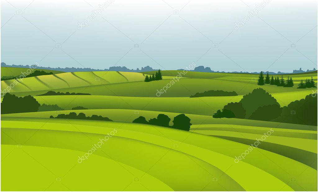 Vector green landscape. — Stock Vector #2403787