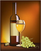 Wine and grapes — Stock Vector