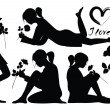 Royalty-Free Stock Vector Image: Silhouettes of romantic young girl with