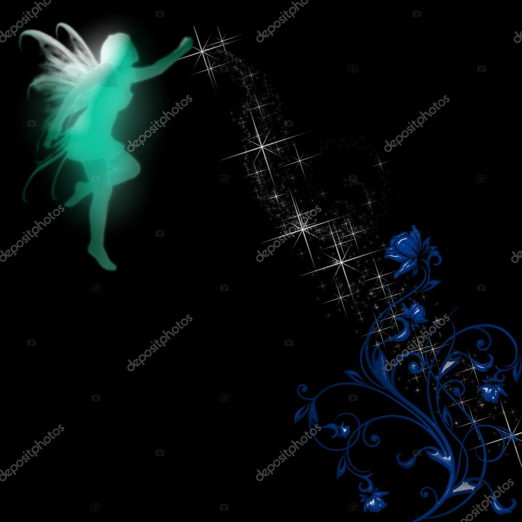  a fairy silhouette on a pretty background   Stock Vector #2165650