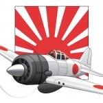 Japanese WW2 plane and rising sun flag — Stock Vector