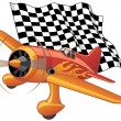 Sport plane with the checkered flag - Stock Vector