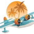Royalty-Free Stock Vector Image: Seaplane on the tropical background