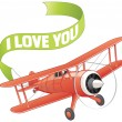 Plane with love banner — Stock Vector