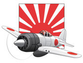 Japanese WW2 plane and rising sun flag — Stock Vector