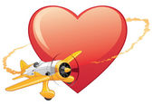 Plane on the heart background — Stock Vector