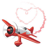 Plane sending love message — Stock Vector