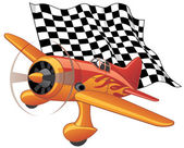 Sport plane with the checkered flag — Stock Vector