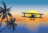 Sunset seascape with plane — Stock Vector