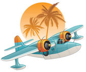 Seaplane on the tropical background — Stock Vector