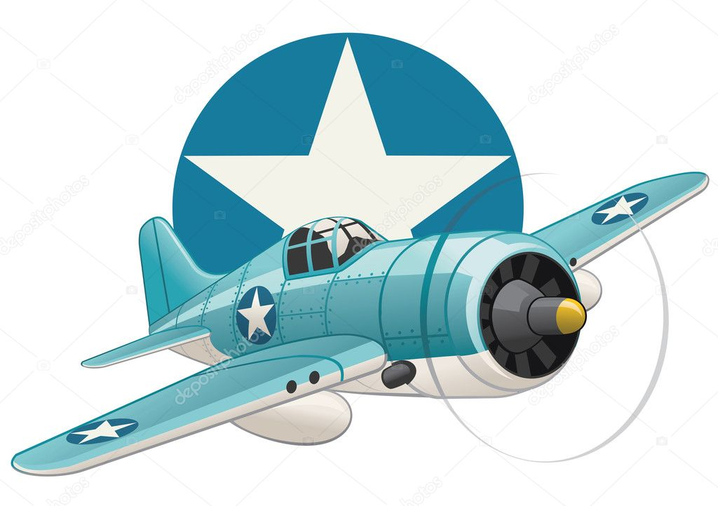 United states WW2 navy fighter airplane on USAF insignia background — Stock Vector #2128613