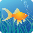 Golden fish under water — Stock Vector