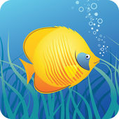 Tropical butterfly fish under water — Stock Vector