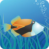 Tropical reef triggerfish under water — Stock Vector