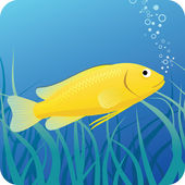 Electric yellow labido fish under water — Stock Vector