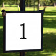 Outdoor signpost with the number 1 — Stock Photo
