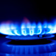 Flame of a gas cooker - Foto Stock