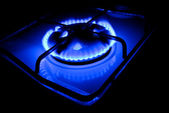 Blue flame of a gas cooker — Stock Photo
