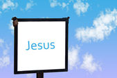 """Jesus"" Signpost in the sky — Stockfoto"