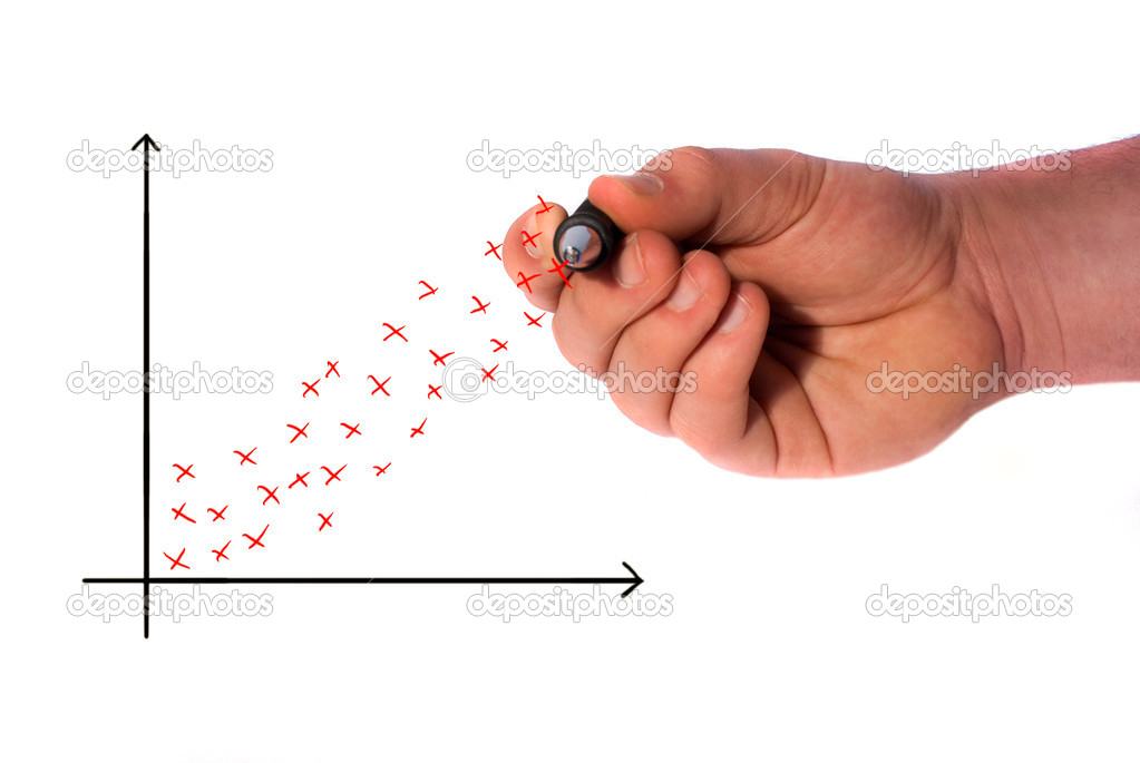 Hand drawing a scatter graph showing a profit — 图库照片 #2534582