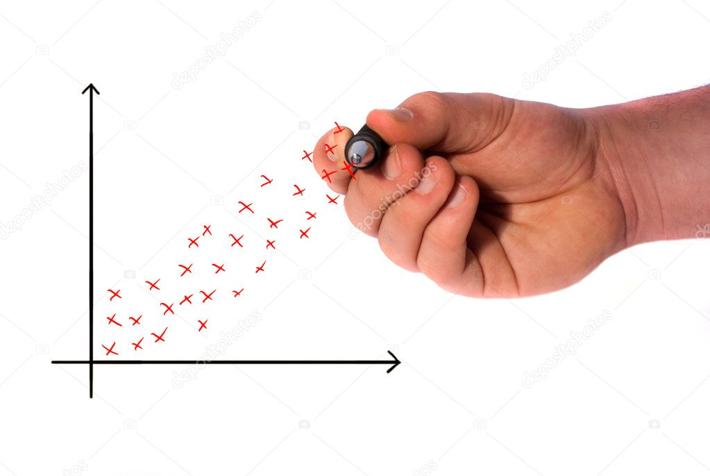 Hand drawing a scatter graph showing a profit — Foto Stock #2534582