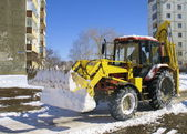 Tractor for snow cleaning — Stock Photo