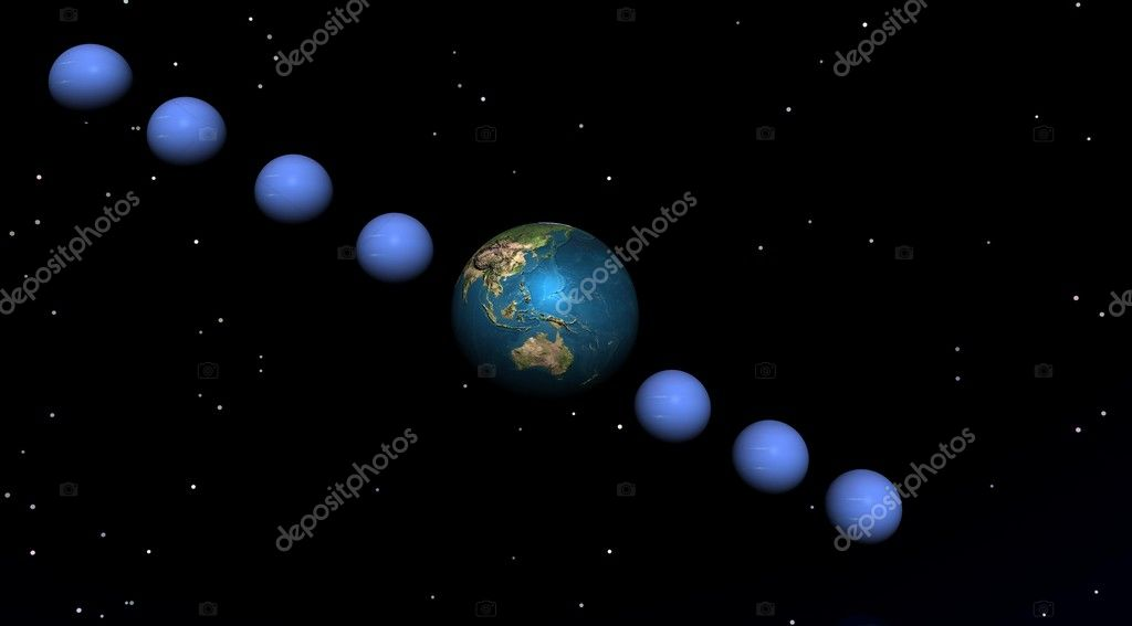The planet is in hiding with seven planet of water on a black bottom — Stock Photo #2151356