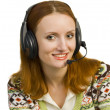 Beautiful business woman with headset — Stock Photo #2102223