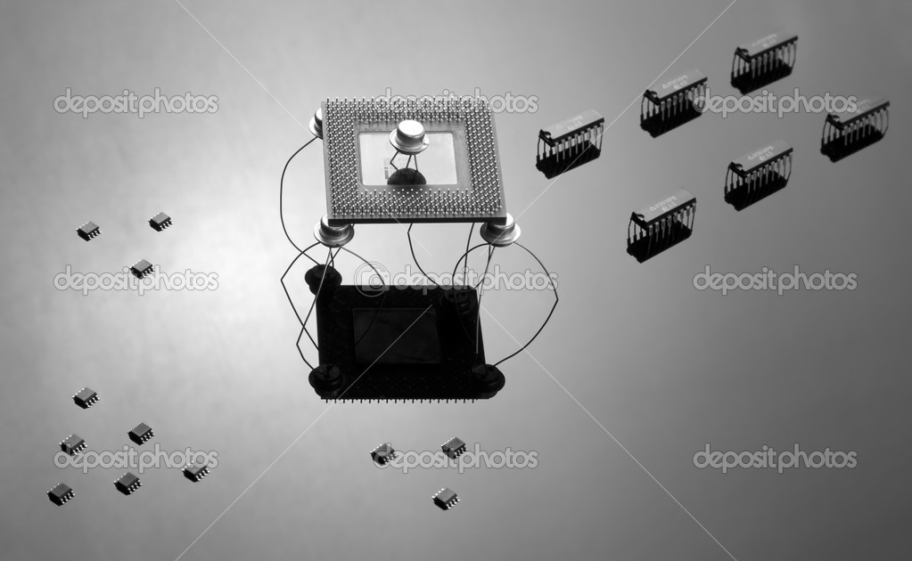 Army of different chips and semiconductors — Stock Photo #2103594