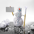 Paper snowman with sign — Stock Photo