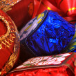 Stock Photo: Chocolates and Christmas ornaments