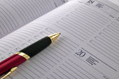 Pen on agenda page — Stock Photo