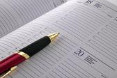 Pen on agenda page — Stock Photo