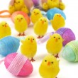 Royalty-Free Stock Photo: Easter chicks with eggs