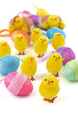Easter chicks with eggs — Stock Photo