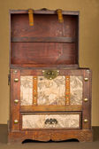 Vintage steamer luggage trunk lid open — Stock Photo
