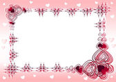Rose frame with hearts — Stock Photo