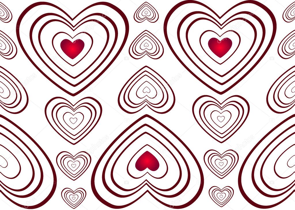 Red romance hearts on white background  Stock Photo #2166848