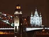 Piter wielki most i katedra — Zdjęcie stockowe