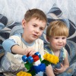 Two boys play toys — Stock Photo