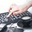 Stock Photo: Hand on the keyboard