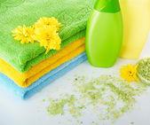 Grassy salt and towel — Stock Photo