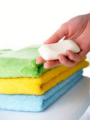 Towels on a table — Stockfoto
