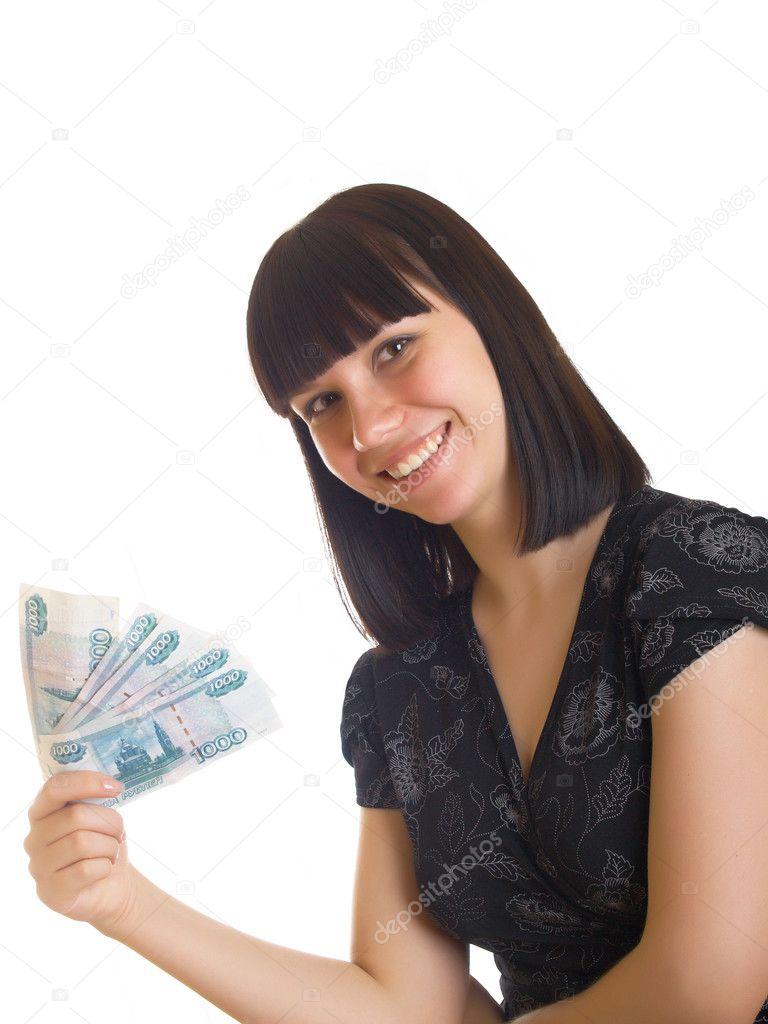 Woman Holding Money — Stock Photo © stuchin #2230055